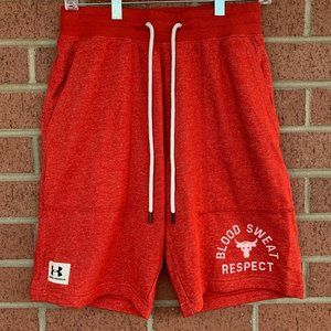 UA Project Rock Blood Sweat Respect Red Shorts